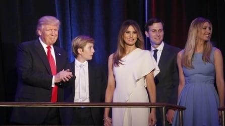 Usa, il presidente Trump festeggia con la famiglia sul palco