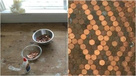 Trasforma un vecchio pavimento usando soltanto delle monete: il risultato è sbalorditivo