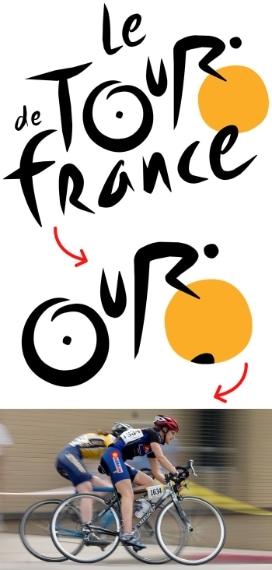 """Il logo del Tour de France deriva dall'immagine stilizzata di un ciclista in biciletta che è racchiusa nella parola """"tour"""" stessa."""