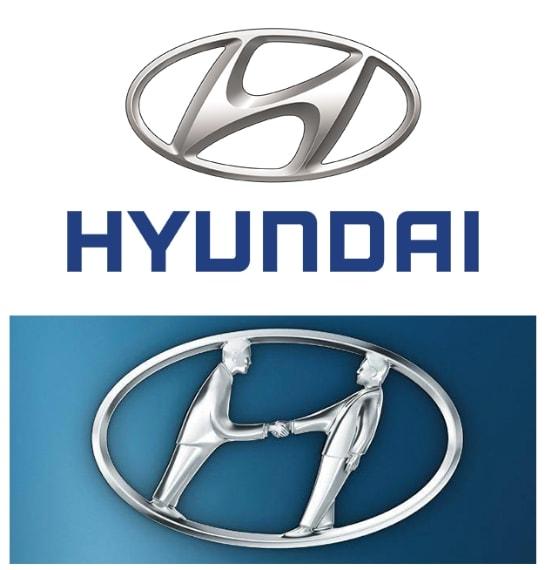 """La """"H"""" del logo sta per Hyundai sicuramente ma il logo rappresenta anche il disegno stilizzato di un stretta di mano tra due uomini che probabilmente personificano l'azienda Hyundai e un acquirente di auto."""