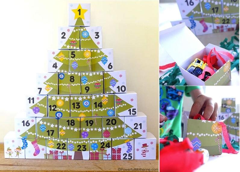 Se si riescono a trovare scatole pressoché della stessa dimensione si può creare un calendario dell'avvento a forma di albero da riempire con tanti doni differenti.
