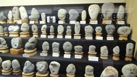 All'interno del museo giapponese di rocce che sembrano facce