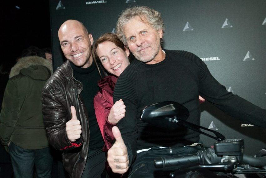 Andrea Pezzi e Cristiana Capotondi con Renzo Rosso all'evento Diesel e Ducati
