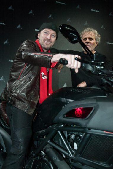 Francesco Facchinetti con Renzo Rosso all'evento Diesel e Ducati