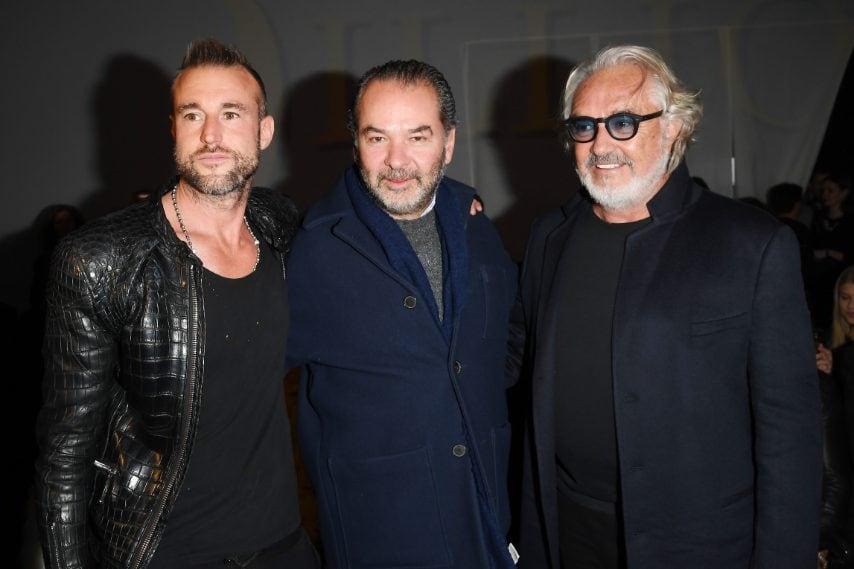 Philipp Plein, Remo Ruffini e Flavio Briatore alla sfilata di Billionaire