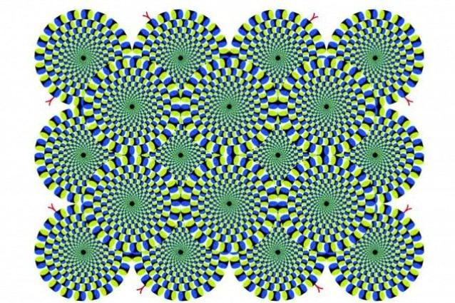 """La rotazione di serpenti è un'illusione ottica sviluppata dal Professor Akiyoshi Kitaoka nel 2003 ed è una variante dell'illusione periferica di deriva: i """"serpenti"""" sono costituiti da diverse bande di colore che assomigliano a serpenti arrotolati. Anche se l'immagine è statica, i serpenti sembrano muoversi in cerchio. Ma se si fissa un solo cerchio, gli altri si immobilizzano."""
