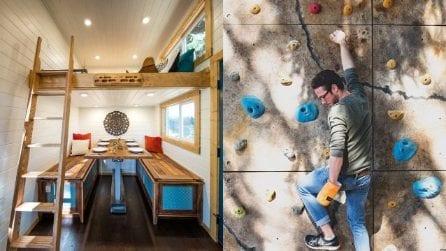 Nella mini casa dove si può fare arrampicata