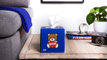 I box di fazzoletti Tempo firmati da Moschino