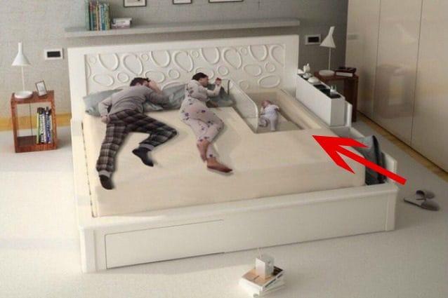 Questo letto è progettato con un apposito vano di protezione per il vostro bambino così da averlo sempre accanto a voi senza alcun timore.