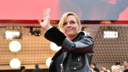 Uma Thurman con il chiodo di pelle sul red carpet di Cannes