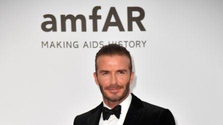 David Beckham con il codino a Cannes