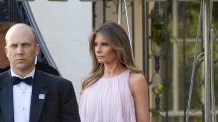 Melania Trump elegantissima in rosa