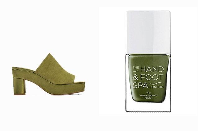 Sandalo: Zara - Smalto: The hand ad foot spa Professional nail polish (Khaki