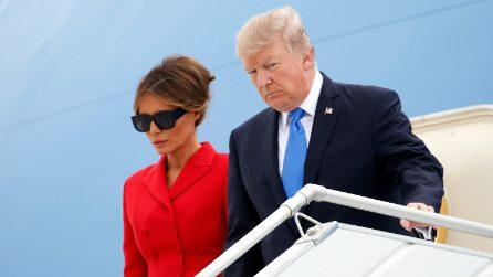 Melania Trump in rosso a Parigi