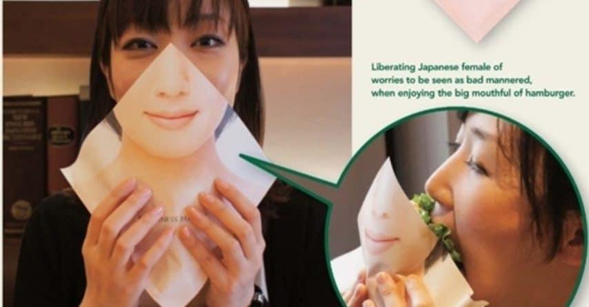"""Si legge sull'inserzione pubblicitaria: """"Libera la donna giapponese dalle preoccupazioni di essere guardata in cattivo modo, quando gode nel mangiare un grande hamburger"""""""