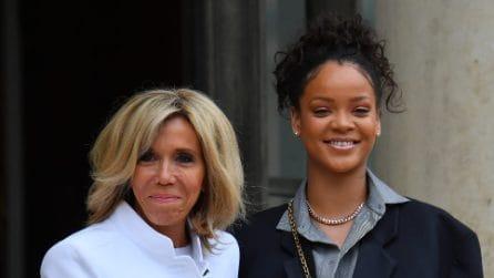 L'incontro tra Brigitte Macron e Rihanna