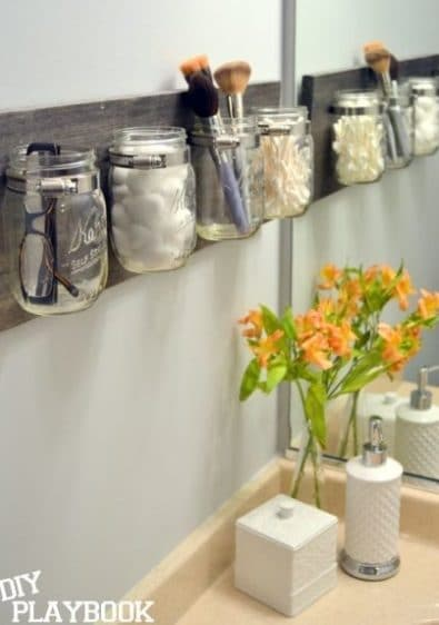 Store bathroom cosmetic items in your jar