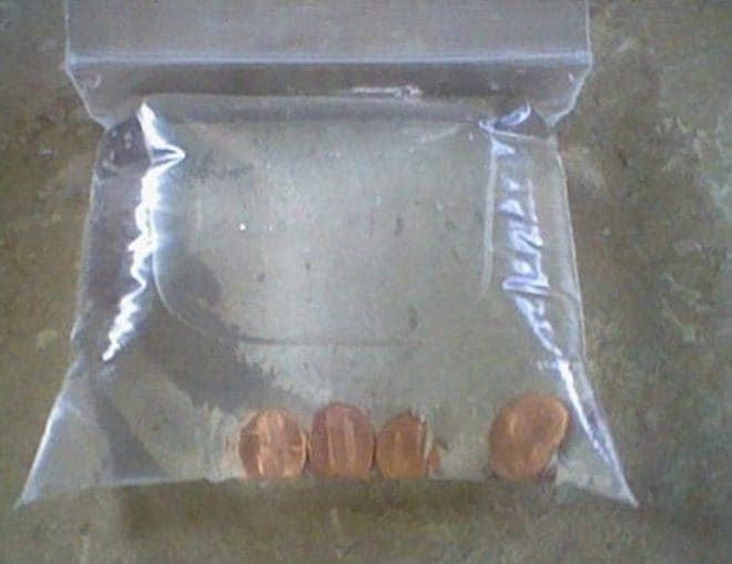 Put the pennies in a plastic sandwich bag with water, lemon juice and salt
