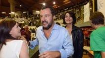 Matteo Salvini ed Elisa Isoardi al comizio di Ponte di Legno