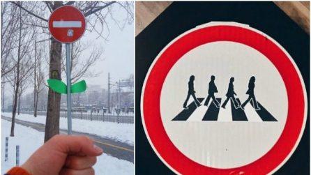 Da cartelli stradali ad opere spiritose: la street art che ferma il traffico