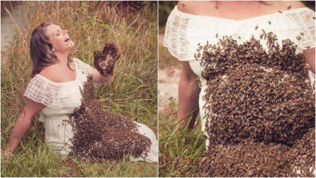 Donna in dolce attesa posa ricoperta da centinaia di api: pioggia di polemiche per gli scatti
