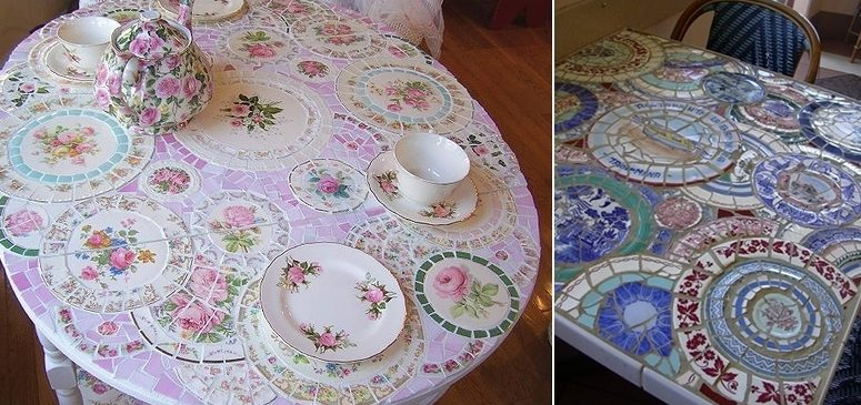 Table with pieces of dishes