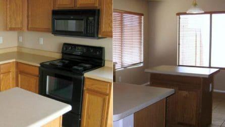 Nella nuova casa la cucina è misera e spoglia: la rinnova con le sue mani e la rende irriconoscibile