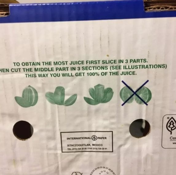 Su questa confezione viene mostrato il modo corretto per tagliare il lime e avere più succo possibile.