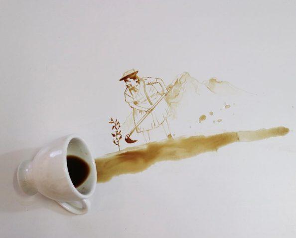 La produzione del caffè in un disegno.