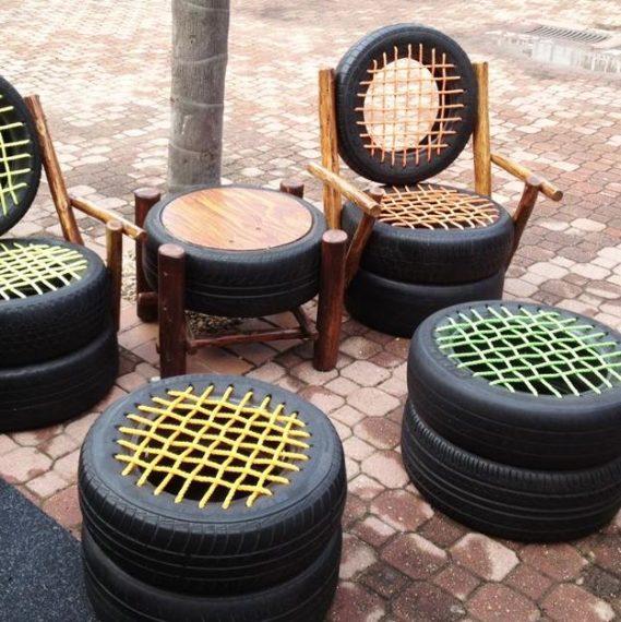 Riutilizzare ruote delle auto come pouf, sedie e tavolini da giardino. Fonte: http://www.lushome.com/33-creative-recycling-ideas-reuse-recycle-unique-furniture-design-home-decorating/166296