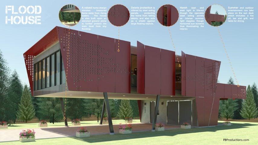 Questa è una casa progettata per difendersi dalle alluvioni. L'abitazione è costruita su un terreno sufficientemente elevato per proteggere il livello principale da qualsiasi inondazione. Le fondamenta in acciaio contribuiscono a isolare la casa.