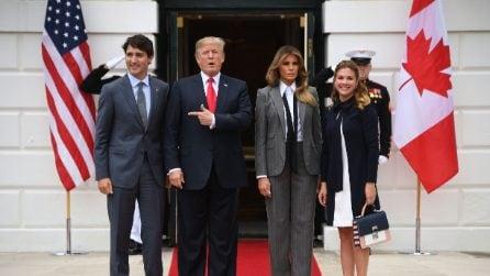 Il look mascolino di Melania Trump