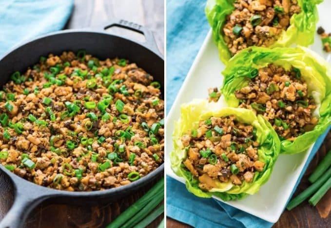 Un ripieno a base di funghi e salsa, in uno scrigno di lattuga. Fonte: https://www.wellplated.com/vegetarian-lettuce-wraps/