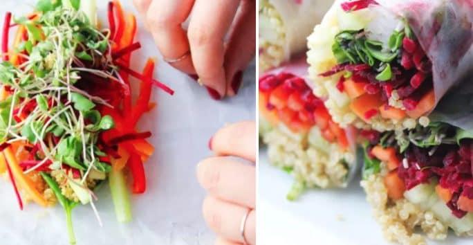 Non manca nessun colore in questa farcitura golosa. Fonte: http://www.motherhoodinstilettos.com/2016/02/01/rainbow-spring-rolls-2-dipping-sauces/