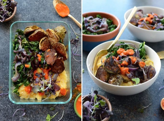 Un abbinamento decisamente vincente. Fonte: https://fitfoodiefinds.com/2016/11/vegetarian-meal-prep-idea-roasted-brussels-sprout-polenta-bowls/
