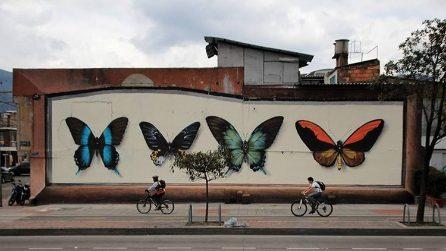 La street art che trasforma gli edifici in bacheche per farfalle