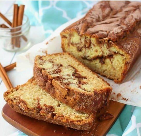 Pane dolce con la cannella e ricoperto di zucchero. Fonte: https://lilluna.com/cinnamon-sugar-quick-bread/