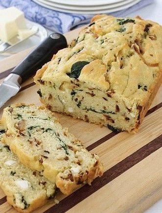 Pane morbido con spinaci, cipolla e olio d'oliva. Fonte: http://tastykitchen.com/recipes/breads/caramelized-onion-spinach-olive-oil-quick-bread/