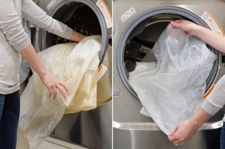 Usando la lavatrice potete far risplendere le tendine della doccia in un attimo.