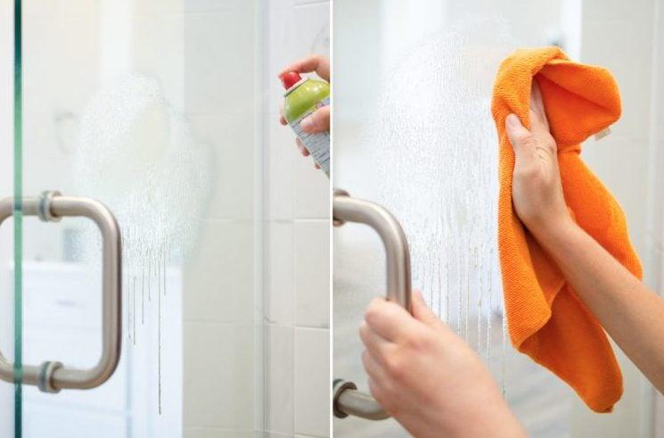 Lo spray che usate per pulire il lavello della cucina potete usarlo anche in bagno, per rimuovere i residui di sapone dopo la doccia.