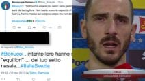 Svezia-Italia, setto nasale rotto per Bonucci: ironia, insulti e difese a Bonucci sul web