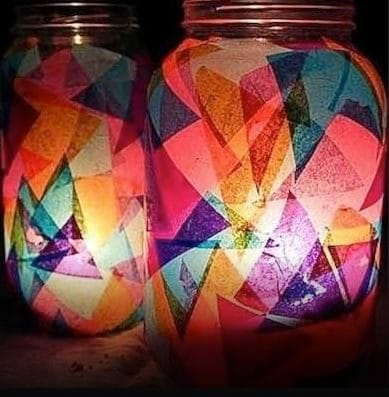 Paste colored paper on the jars and put in some candles.