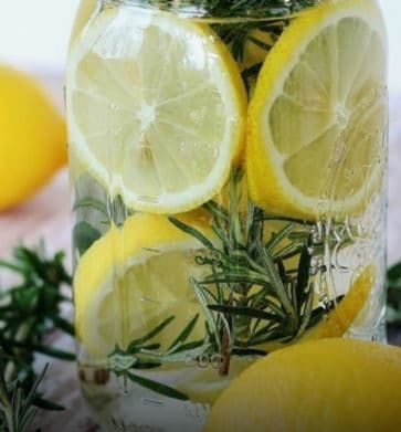 Diy deodorant with lemons and herbs.