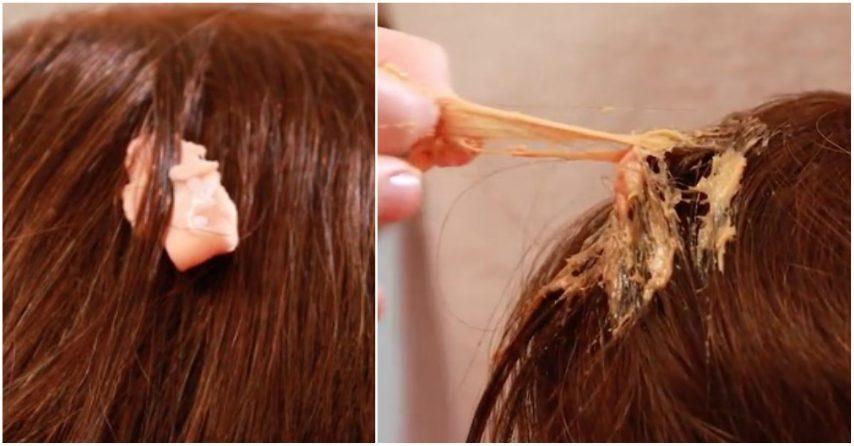 Applicare olio d'oliva e far agire per 5-10 minuti: il chewing gum verrà via più facilmente.