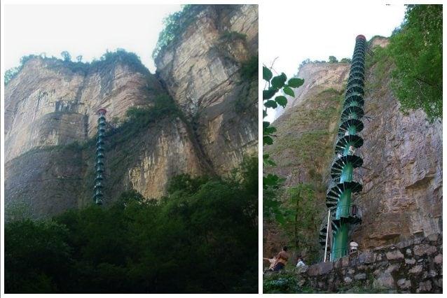 Sui Monti Taihang, in Cina, per richiamare il maggior numero di turisti, è stata installata una particolare scala a chiocciola di circa 90 metri di altezza. La scala, soprannominata Stairway to Heaven per il brivido dell'alpinismo che dà agli scalatori, può essere percorsa da una sola persona per volta data la larghezza esigua, quindi tornare indietro è impossibile. I Monti Taihang raggiungono anche i 1800 metri di altezza.