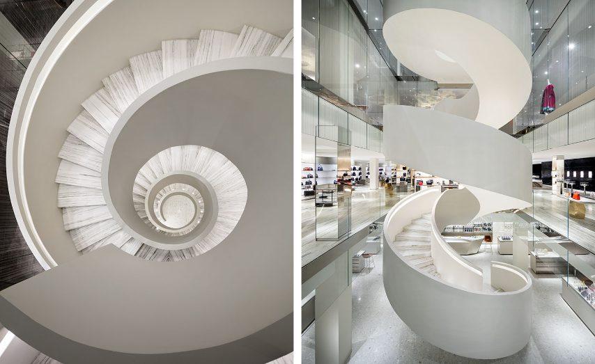 A New York, uno dei rivenditori di abbigliamento più iconici della città è sicuramente Barneys. Nel 2016 il grande magazzino ha aperto la sua nuova sede in centro. I clienti ogni volta che entrano nel nuovo edificio restano abbagliati dal marmo e da un elemento che è già diventato un'icona a New York: la scala a chiocciola progettata da Andrée Putnam che collega i cinque piani del negozio. Il nuovo store non ha scale mobili, e la spirale della scala posta al centro funziona da passerella