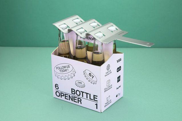 SIXOVERONE è l'unico apribottiglie che può aprire fino a sei bottiglie contemporaneamente.