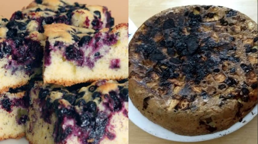 Torta ai mirtilli. Fonte: http://www.kitchme.com/recipes/melt-in-your-mouth-blueberry-cake - https://www.instagram.com/explore/tags/cookingfails/