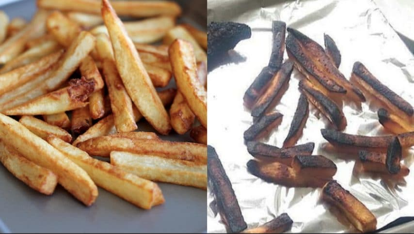 Patatine fritte. Fonte: https://damndelicious.net/2012/06/21/garlic-cheese-fries/ - https://www.instagram.com/explore/tags/cookingfails/