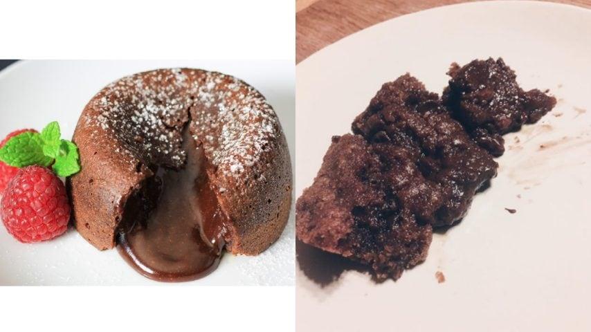 Tortino con cuore caldo al cioccolato. Fonte: http://simplyhomecooked.com/chocolate-lava-cake/ - https://www.instagram.com/explore/tags/cookingfails/